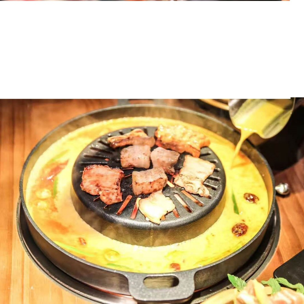 Barbecue Grill Machine Meat Roaster Hot Pot 2 In 1 Non-stick Plate Egg Cake Baking Pan Oven Plate High Quality Diameter 33Barbecue Grill Machine Meat Roaster Hot Pot 2 In 1 Non-stick Plate Egg Cake Baking Pan Oven Plate High Quality Diameter 33