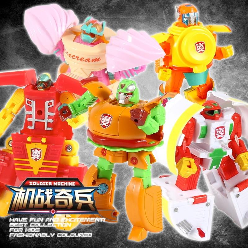 5ピース/セットクリエイティブかわいい変換食品ロボットチップハンバーガーアイスクリームパズル子供のおもちゃ人形フィギュア付きパッケージ