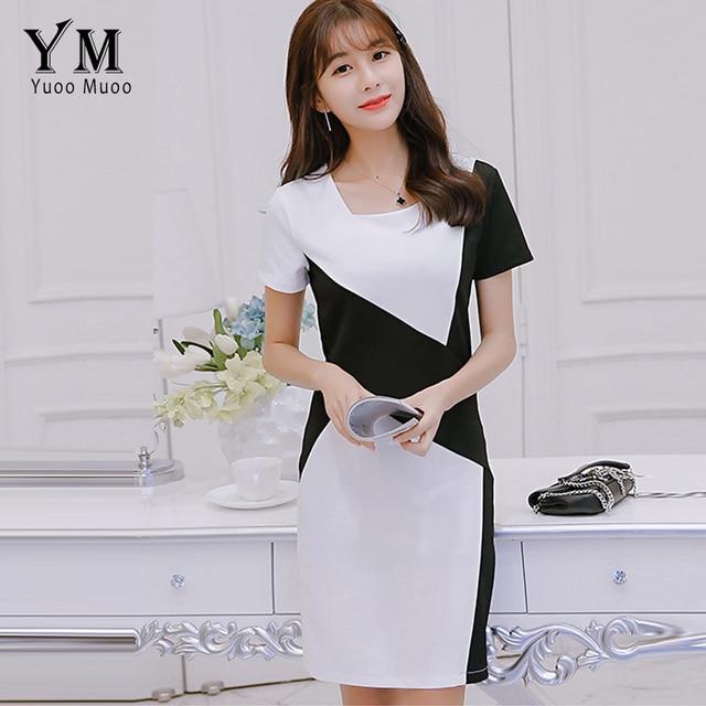 dea79c07db6b7 US $15.88  YuooMuoo New Summer 2018 Women Dress Elegant Black and White  Patchwork Office Dress Short Sleeve Ladies Work Dress Vestidos -in Dresses  ...