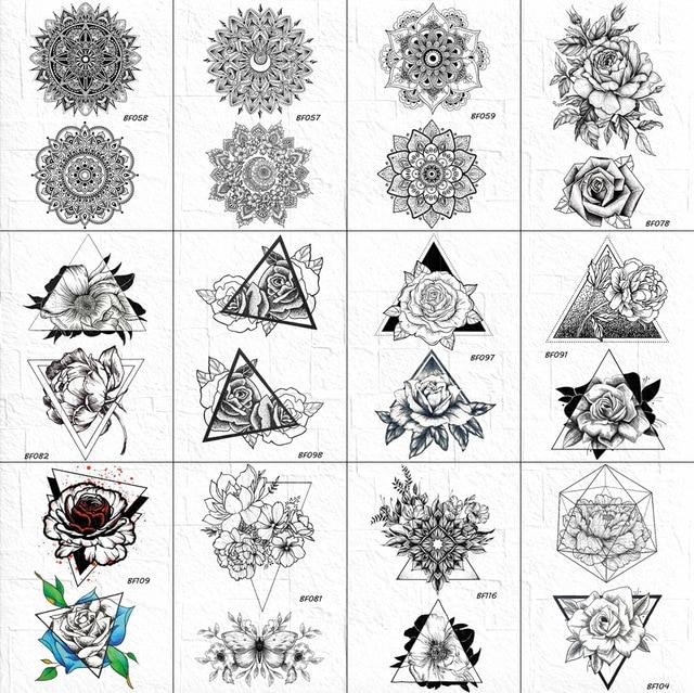 Sexy Henna Mandala Flower Tattoos Temporary Women Geometric Sexy