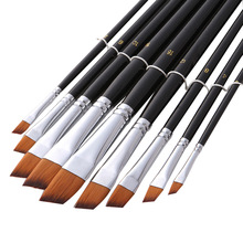 9pcs/set Watercolor Paint Brush Different Size Nylon Hair Oblique Acrylic Oil Painting Brushes For Drawing Art Supplies 802 bgln 1piece nylon hair oblique scrubbing brush painting brushes oil acrylic painting art supplies stationery 8044a
