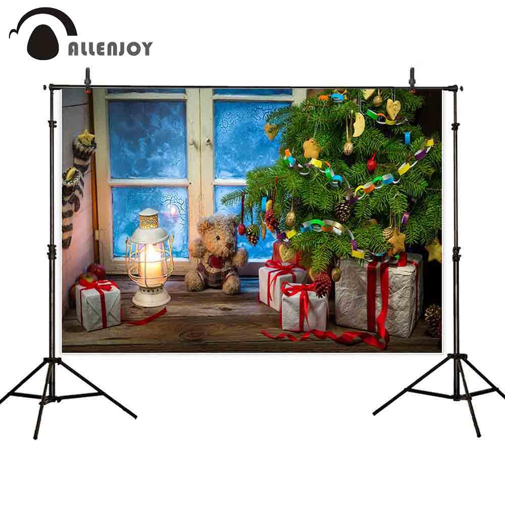 Allenjoy weihnachten hintergrund fotografie kiefer innen fenster geschenk Spielzeug Bär kinder bord echt foto kulissen wand-papier