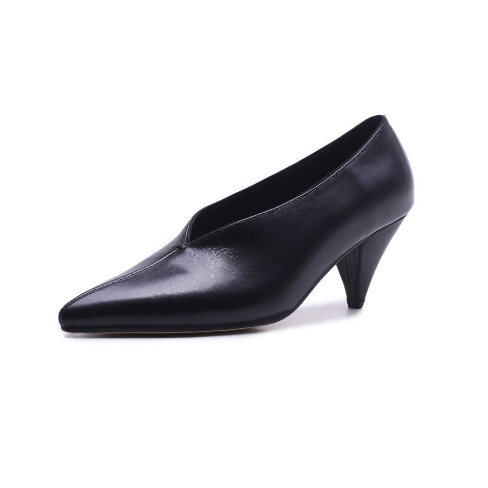 Vestido negro Moda Oficina Señora Pote En Mujer Beige Mujeres Los chocolate Cuero Clásico De Genuino Estilo Bombas Las L29 Krazing Sólido Deslizamiento Zapatos 6Tq1SSw