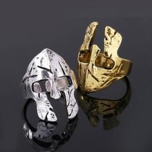 Resizable Spartan Finger Ring Men Hero Helmet Mask for Vintage Punk Jewelry Male Antique Silver Gold Color