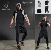4pcs Men Sports Suit Outerdoor Cloth Tights Tracksuit Male Fitness Wicking Gym Training Running Set Men