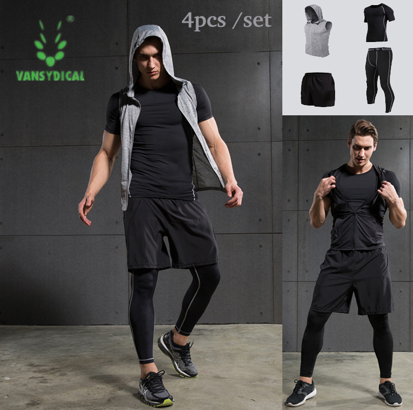 4pcs Men Sports Suit Outerdoor cloth Tights basketball Tracksuit sports jersey Male Fitness Wicking Gym Training Run Set Men libo breathable fitness sleeveless basketball suits for male