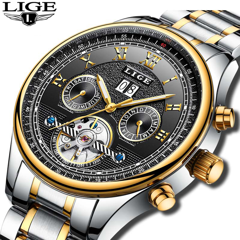 Top Brand Luxury Fashion Automatic Mechanical Watch Men Full steel Waterproof Sport Watches Man Clock Mens Watch Relojes Hombre men luxury automatic mechanical watch fashion calendar waterproof watches men top brand stainless steel wristwatches clock gift