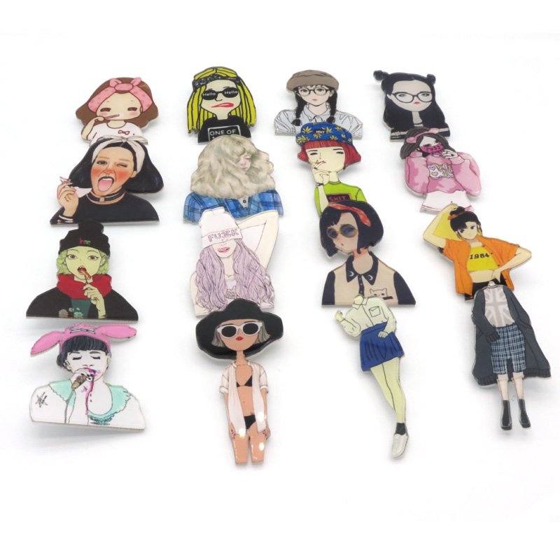 Amazing 1PC Hot Sale Fashion Shirt Cute Cartoon Brooch Badge Pins Jewery Harajuku Acrylic Pretty Women Girl Brooch Broche