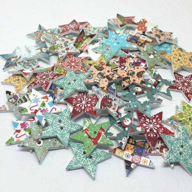500pcs 25mm wooden star christmas buttons sewing scrapbook embellishments cardmaking crafts - Christmas Buttons