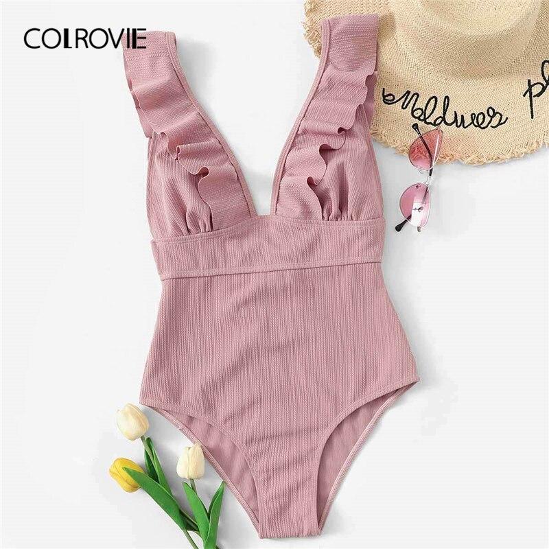 COLROVIE Pink Ruffle V Neck Sexy One Piece Swimwear Bodysuit Women Monokini 2019 Summer Beachwear Cute Female Bathing Suits