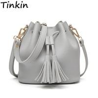 Tinkin Summer Tassel Women Shoulder Bag Casual Messenger Bag All Match Women Bag Color Brown Gray