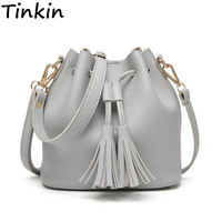 Tinkin Summer Tassel Women Shoulder Bag Casual Messenger Bag All Match Women Bag Color Brown Gray
