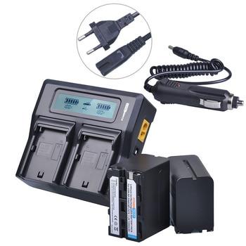 2Pcs 7200mAh NP-F960 NP-F970 NP F960 NPF970 Battery + LCD Rapid Dual Charger for Sony F930 F950 F770 F570 F975 F970 F960 HVR-V1J фото