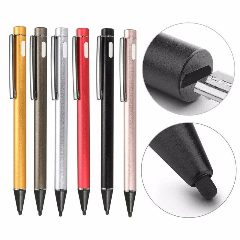 imágenes para Universal 2.0mm 6 Colores Recha rgeable Activo Stylus Capacitivo Pantalla Táctil ive Dibujo Bolígrafos Pluma de La Pantalla de Carga USB Para teléfonos