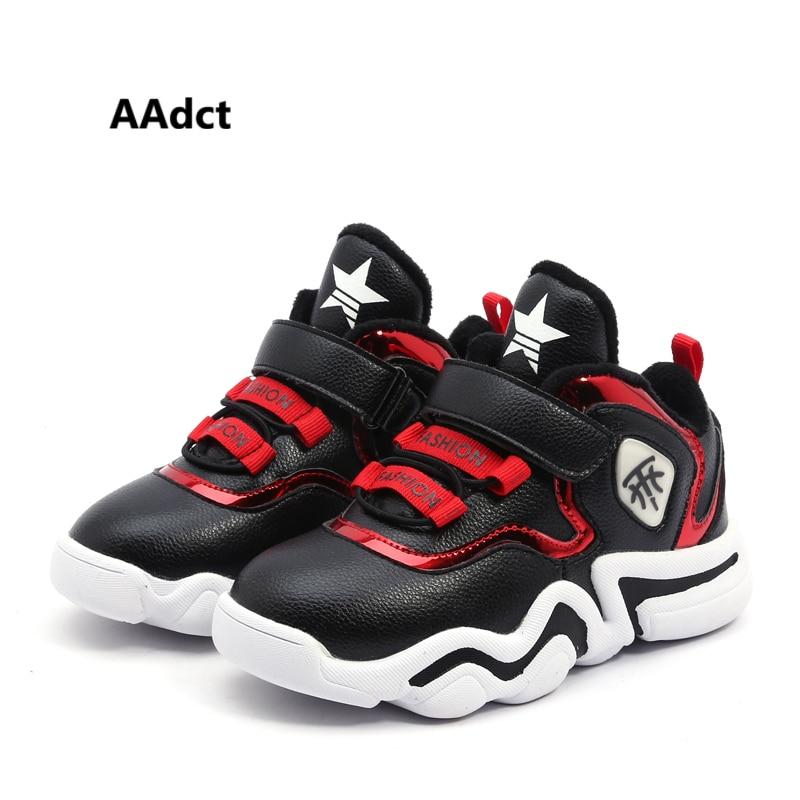 AAdct хлопок теплый Бег мальчиков обувь Повседневное спортивная обувь для детей для девочек 2018 зимние кроссовки детская обувь