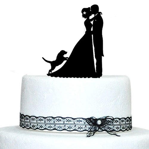 Personalized wedding cake topper dogs wedding decoration bride and personalized wedding cake topper dogs wedding decoration bride and groom silhouette with dog unique cake toppers casamento in cake decorating supplies junglespirit Choice Image