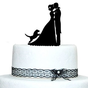 Personalized Wedding Cake Topper Dogs Decoration Bride And Groom Silhouette With Dog