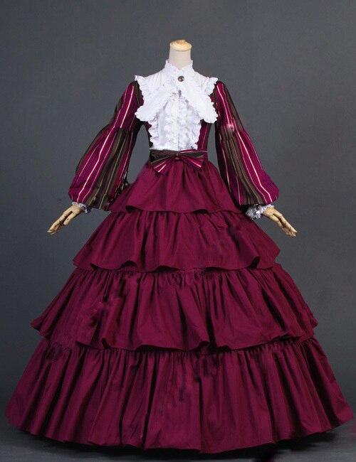 18e Eeuw Jurk Burgeroorlog Gestreepte Puff Mouwen Tiered Bourgondië Baljurk Dress Reënactment Podium Kostuums