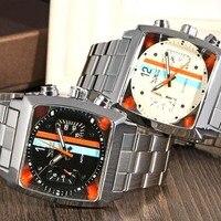 2017 hot nizza jaragar meccanico automatico da uomo orologio vero e proprio orologio cinturino in acciaio a forma di quadrato orologi di marca della vigilanza di sport casuale
