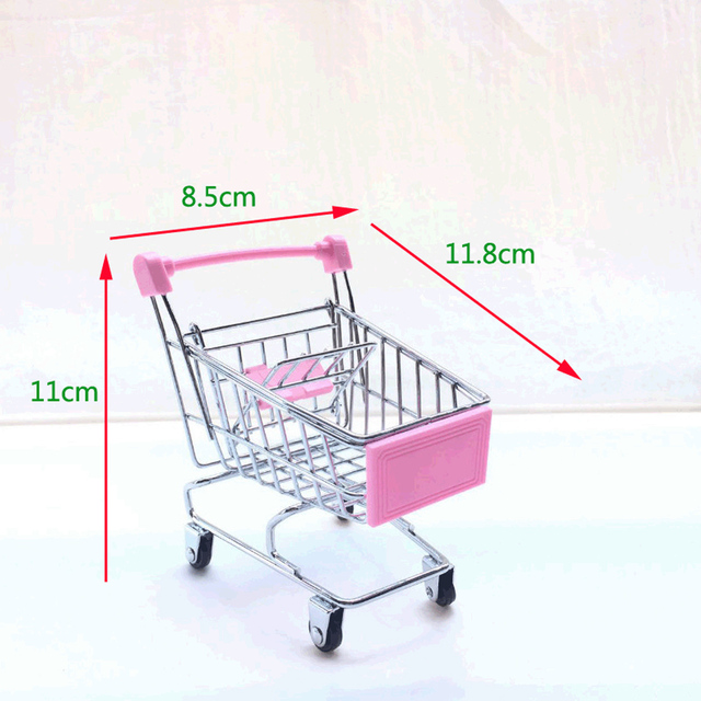 High Quality Cute Mini Supermarket Handcart Trolley Shopping Utility Cart  Phone Holder Office Desk Storage Toy.