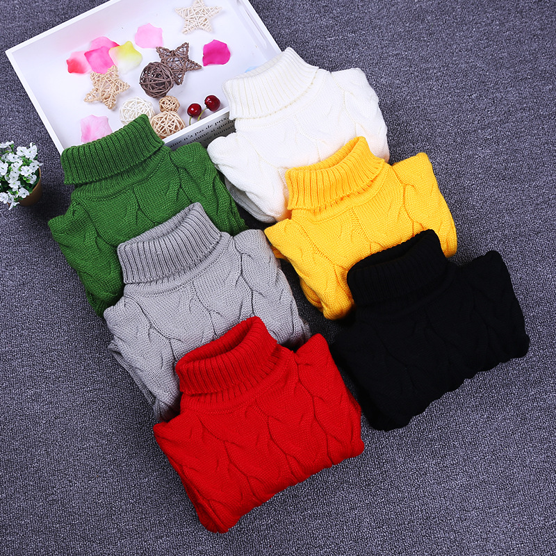 Pure Color Knitted Pullovers Children Sweaters Autumn Winter Warm Turtleneck Sweaters for Girls Boys Warm Kids Knitwear Clothing autumn winter female long wool knitted dresses turtleneck slim lady accept waist package hip pullovers sweater dress for women