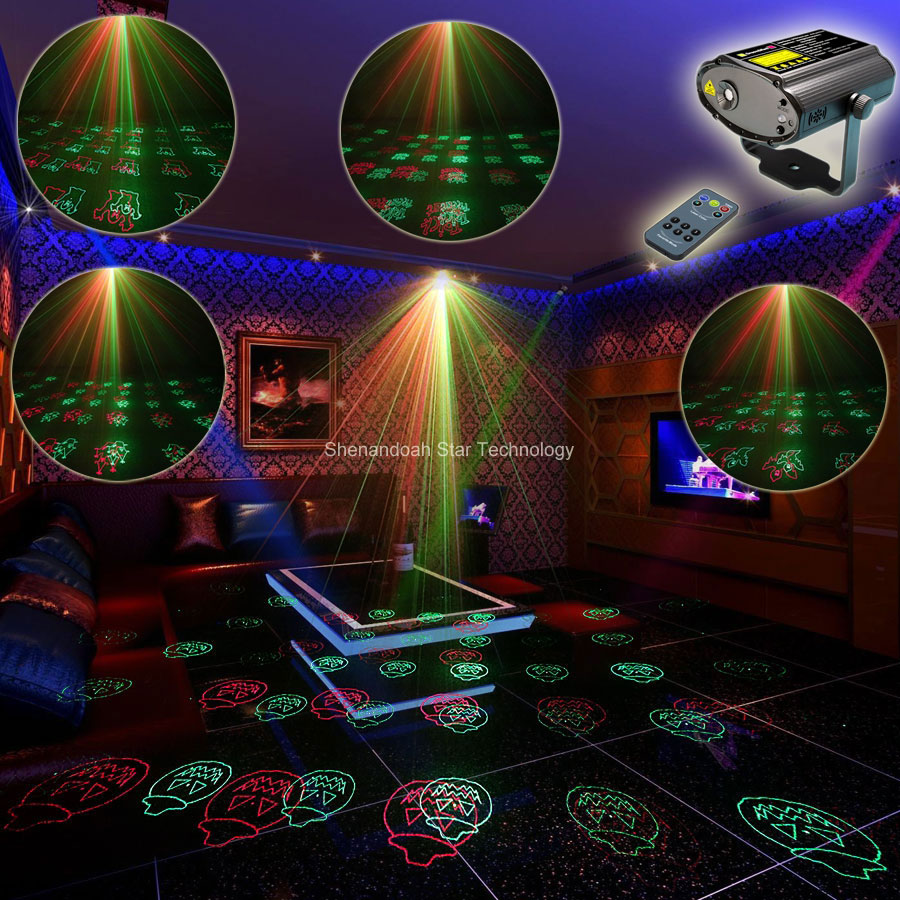 ESHINY Mini R&G Laser 12 Halloween Patterns Projector Dance Disco Bar Family Party Xmas DJ environment lighting Light Show T105