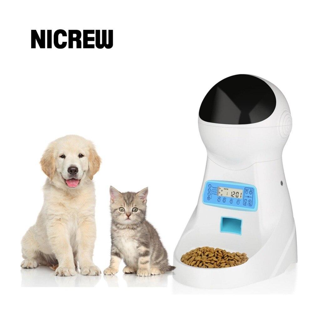 Nicrew Pet-U 3L Automatique Pet Food Feeder Enregistrement Vocal/LCD écran Bol Pour Moyen Petit Chien Chat Distributeurs 4 fois Un jour