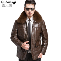 Autumn Winter White Duck Down Coat PU leather Outerwear Smart Casual With Removable Fox Fur Collar Warm Male Jackets Parka