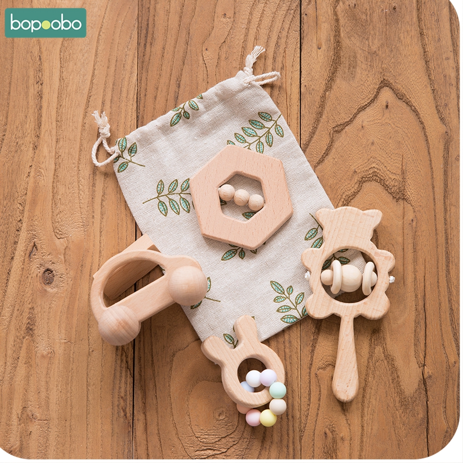 Bopoobo 4Pc/Set Baby Toys Cartoon Rabbit Trojan Horse Cloud Beech Wooden Teething For Nursing Rodent Tiny Rod Toys Baby Products