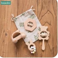 Bopoobo 4Pc/Set Baby Toys Cartoon Rabbit Trojan Horse Cloud Beech Wooden Teethin