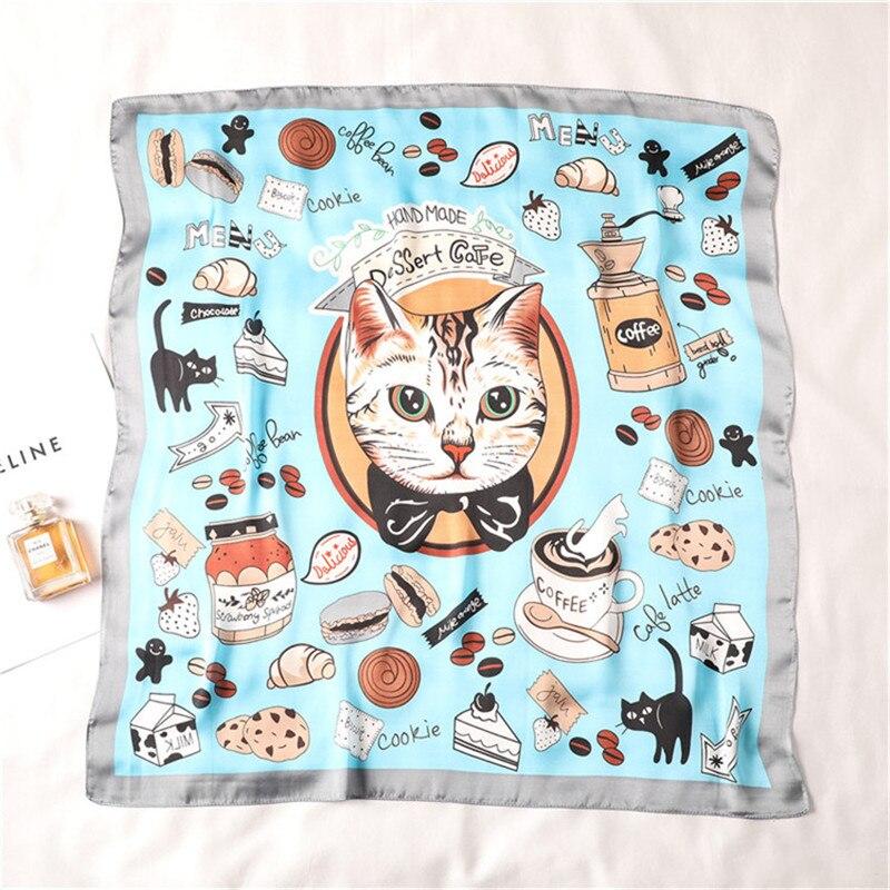 Luxury Brand 2019 New Fashion Summer Silk Square Scarf Women Cat Print Satin Neck Hair Tie Band Beach Hijab Head Female Foulard