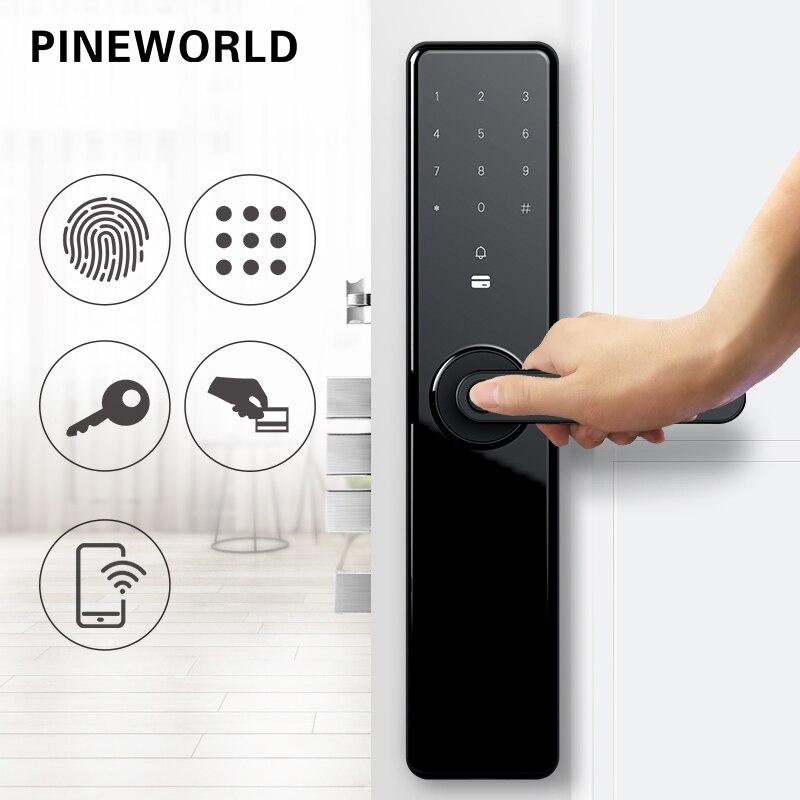 PINEWORLD Porta Fechamento Da Impressão Digital Inteligente, Keyless do Fechamento Da Segurança Em Casa, wifi Senha de Bloqueio Do Cartão RFID App Sem Fio de Controle Remoto Do Telefone