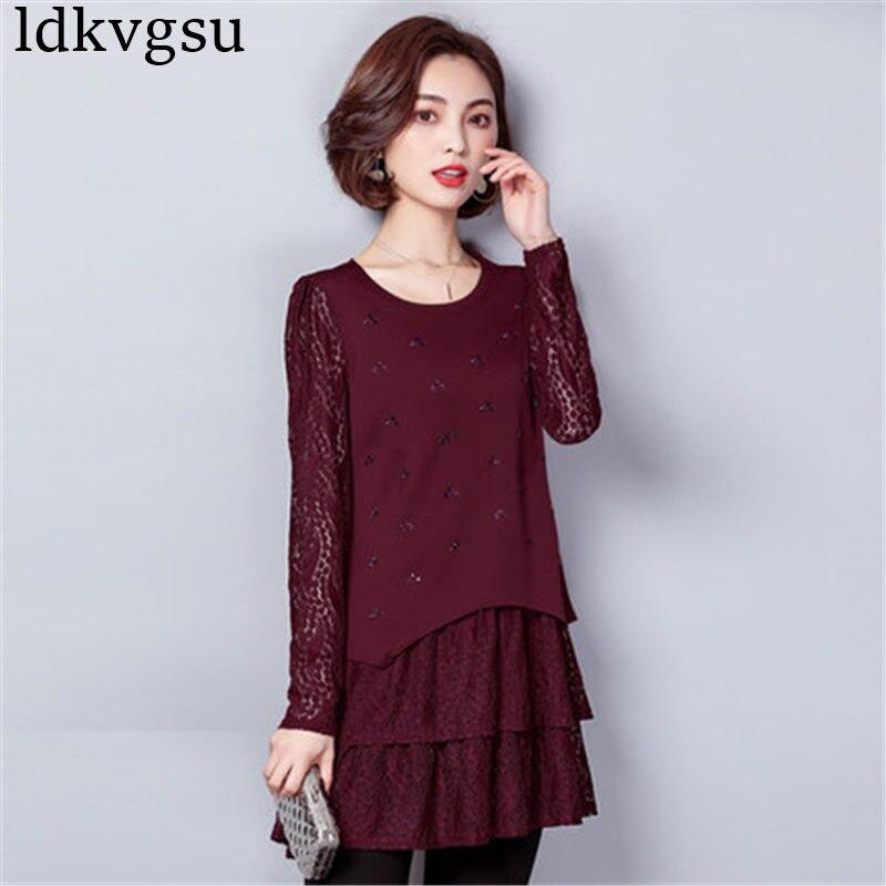 Printemps automne hauts pour femmes 2019 Vintage dentelle à manches longues chemises robe grande taille femmes vêtements Femininas robes A824