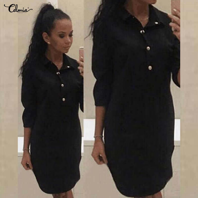 Celmia Women Shirt Dress 2019 Spring Summer 3/4 Sleeve Sexy Short Mini Dresses Casual Long Tunic Tops Vestidos Mujer Plus Size tote bags for work