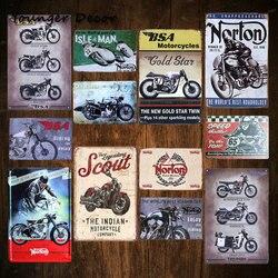 Rétro BSA motos or étoile plaque de métal Norton Scout étain signe Vintage métal affiche Garage Club Pub barre décoration murale YA067