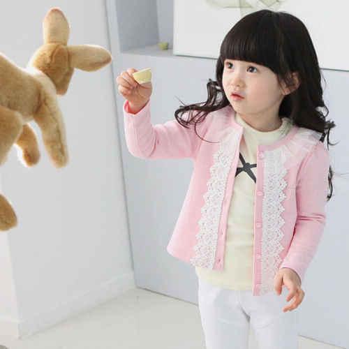 Meninas da criança Do Bebê Crianças Rendas Jaqueta Casaco Cardigan de Manga Longa Malha Outwear Tops Menina Camisolas Outono Primavera Casacos Para menina