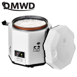 DMWD 1.2L Mini Electric Rice Cooker 2 Layers Food Steamer Multifunction Meal Cooking Pot 1-2 People Heating Lunch Box EU US Plug