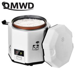 Dmwd 1.2l mini panela de arroz elétrico 2 camadas alimentos a vapor multifuncional refeição cozinhar pote 1-2 pessoas aquecimento lancheira ue eua plug