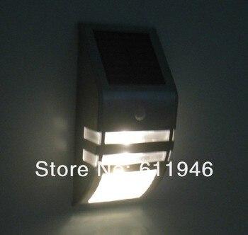 4pcs/lot New Design Solar Power Motion Sensor Super Bright LED Stainless Steel Light Garden Wall PIR Lamp