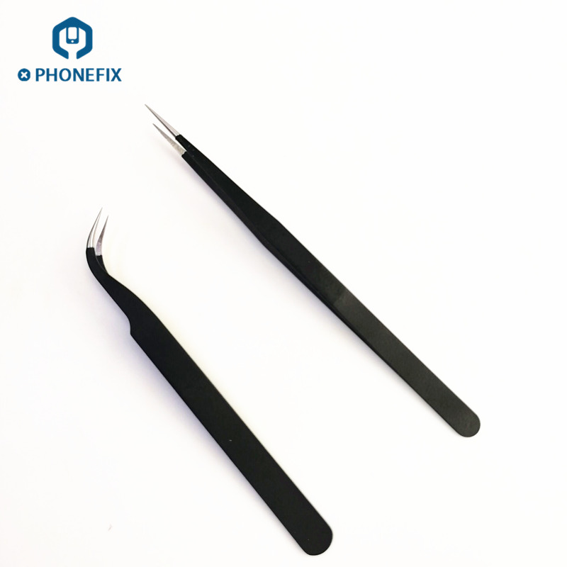 PHONEFIX Electronics Industrial Tweezers Anti-static Curved Straight Tip Precision Stainless Phone Repair Hand Tools Set