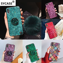 SYCASE Hot Fashion Epoxy gold foil phone case For iPhone 6 6S 7 8 Plus X XR Xs Max case shiny Diamond Bracket marbled Soft cover