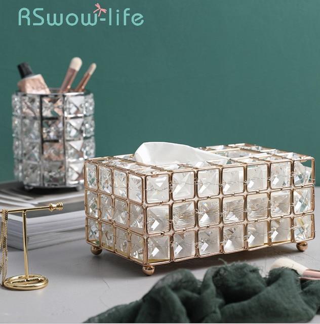 Светильник роскошным позолоченным кованого железа с одноразовыми салфетками Ящики для гостиной лоток коробка держатель для салфеток для Творческое Оформление рабочего стола
