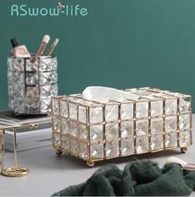Caja de pañuelos de hierro forjado chapada en oro ligera, bandeja de almacenamiento en habitación, servilletero, caja para creativas decoraciones para escritorio