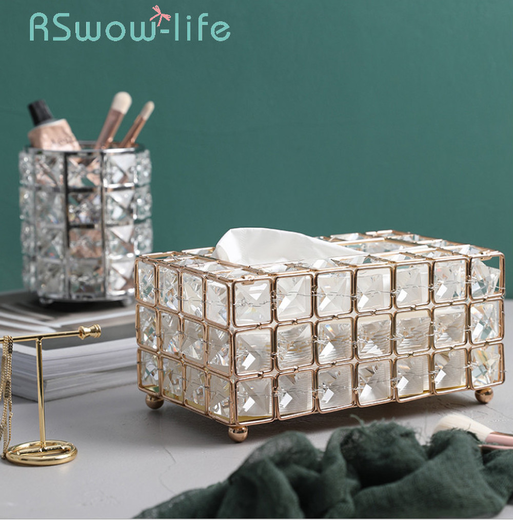 Light Luxury Gold plated Wrought Iron Tissue Box Living Room Storage Tray Napkin Holder Box For Creative Desktop Decoration-in Tissue Boxes from Home & Garden
