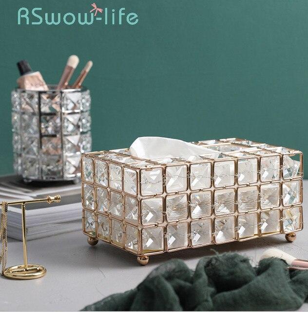 Light Luxury Gold plated Wrought Iron Tissue Box Living Room Storage Tray Napkin Holder Box For Creative Desktop Decoration
