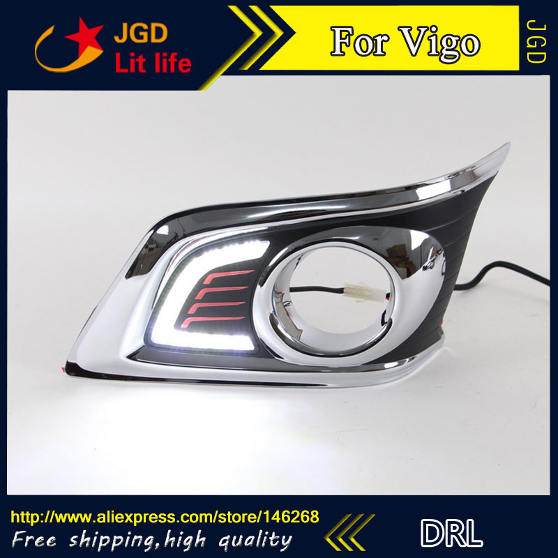 Free shipping ! 12V 6000k LED DRL Daytime running light for Toyota HILUX VIGO 2012-2014 fog lamp frame Fog light Car styling free shipping 2pc lot car styling car led lamp bulb rear fog lamp for peugeot 308 ii sw 2014