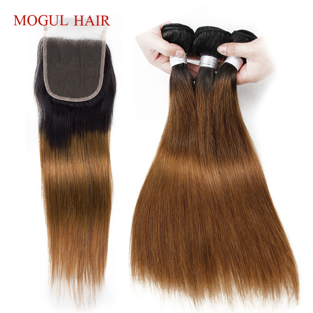 MOGUL HAIR T 1B 30 Ombre Brown Auburn Bundles with Closure Peruvian Straight Remy Human  ...