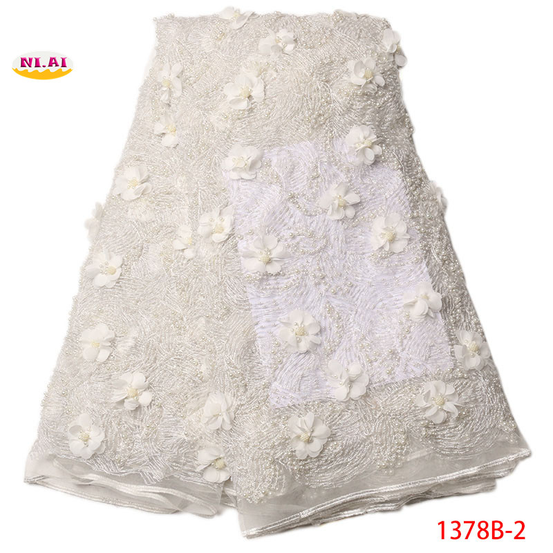 African lace fabric 2018 high quality lace 3d flower fabric with pearl while lace trim nigerian