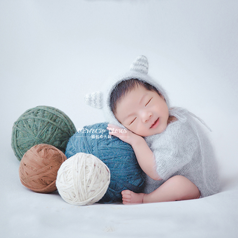 Newborn Baby Photography Studio Color Yarn Ball Props Baby Girl Boy Birthday Picture Photo Shoot Outfits Infant fotografia Props kate 5x7ft light brown color newborn photography 1st birthday backdrops wood floor baby photo props background studio fotografia