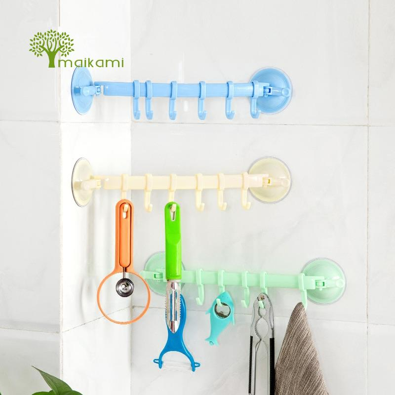 Buy Multifunctional Adjustable Plastic 6 Hooks Holder Vacuum Sucker Towel Utensil Rack Bathroom Kitchen Hanging Shelves for $3.90 in AliExpress store